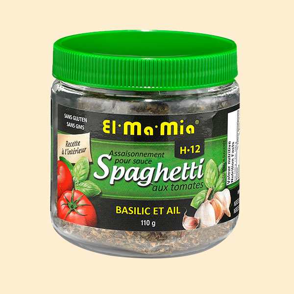 Assaisonnement pour sauce à spaghetti aux tomates avec  basilic et ail