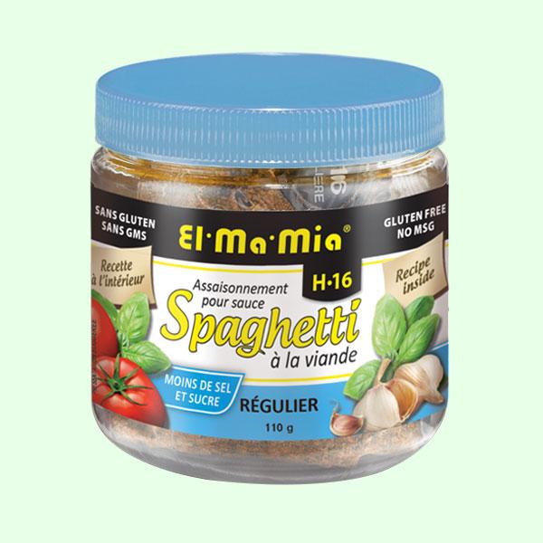 Assaisonnement régulier pour sauce à spaghetti à la viande avec moins de sel et moins de sucre